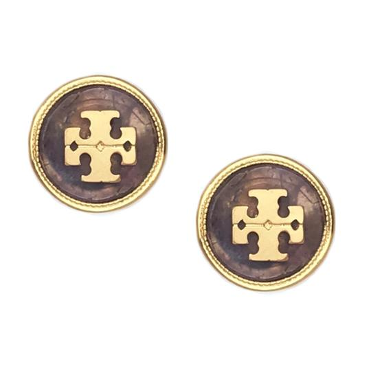 Preload https://img-static.tradesy.com/item/26650052/tory-burch-purplegold-semiprecious-logo-stone-earrings-0-0-540-540.jpg