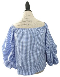 Petersyn Off The Shoulder Poof Sleeve Top Blue & White