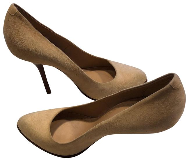 Item - Beige Womens Suede Semi Pointed Nude Pumps Size US 9.5 Regular (M, B)