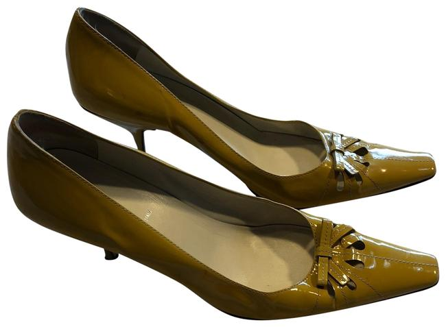 Item - Yellow Women Leather Patent Pointed Toe Heels Pumps Size EU 38 (Approx. US 8) Narrow (Aa, N)