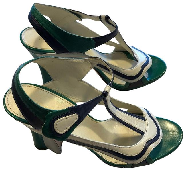 Item - Green /White/Blue Fairy Collection Wave Color Block Heel Pumps Size EU 39.5 (Approx. US 9.5) Regular (M, B)