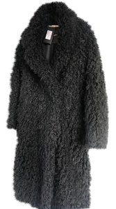 Saint Laurent Oversized Faux Shearling Double Breasted Pea Coat