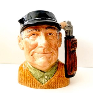 Royal Doulton Brown Vintage 1970 Golfer Toby Mug Decoration