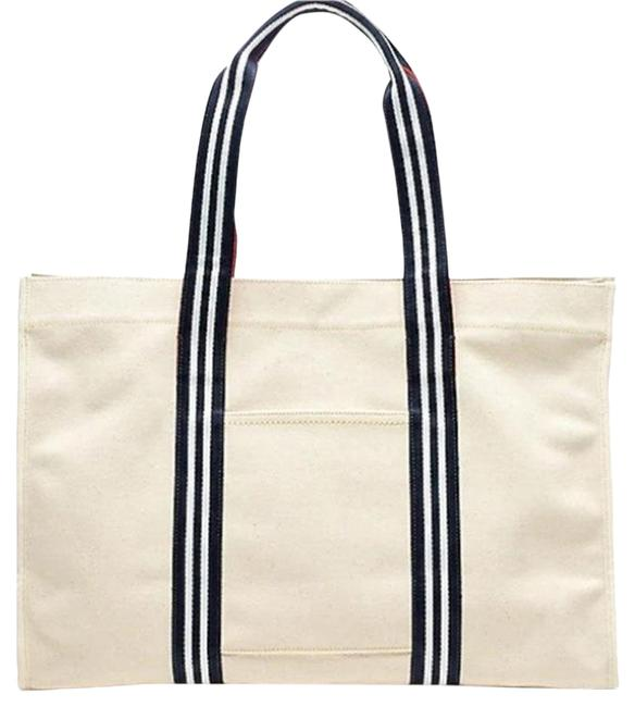 Item - Travel with Striped Straps Beige Canvas Tote
