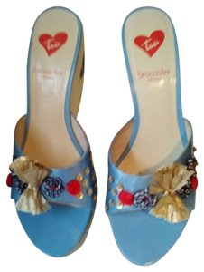 Braccialini Summer Unusual Heels Conversationpiece Statement Italian Blue and white sandals must see the adorable heel!!! Wedges