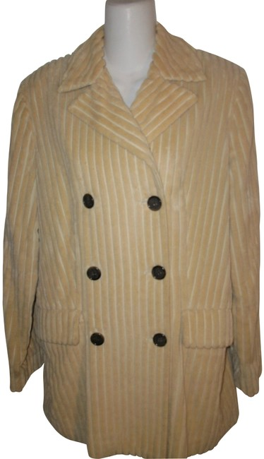 Item - Tan Cotton Double Breast Ribbed Coat Size 6 (S)