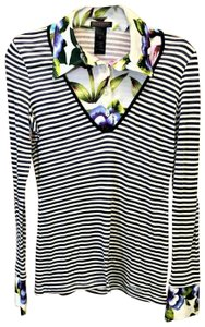 Custo Barcelona Tops Striped Long Sleeve Flower Neck And Cuff Top Multicolor