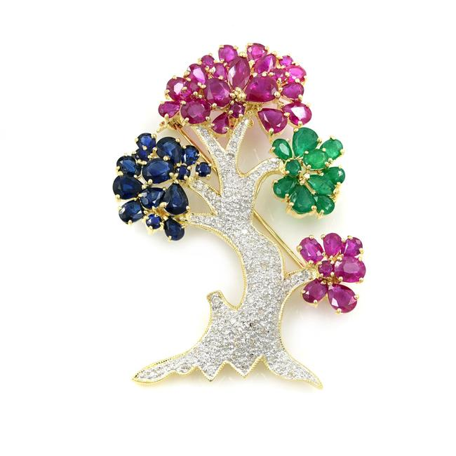 Item - 14k Yellow Gold Ruby 12.4cttw Diamond 0.60cttw Emerald Sapphire Tree Brooch
