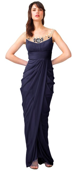 Item - Grey Embellished Draped Mesh Gown Long Night Out Dress Size 8 (M)