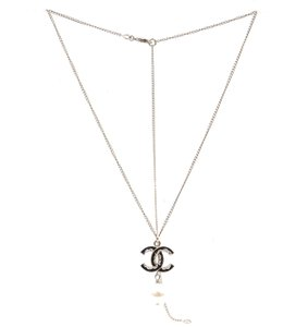 Chanel CC textured enamel gold long chain two way choker necklace