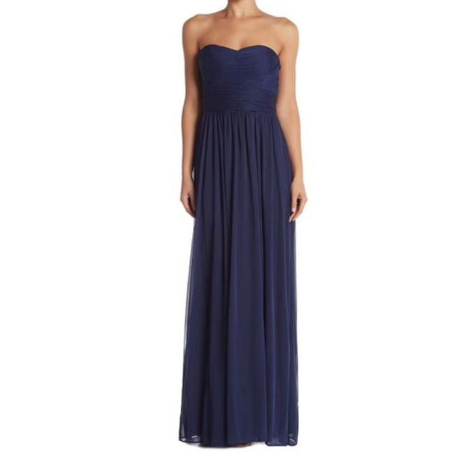 Marina Blue Strapless Ruched Gown Long Formal Dress Size 14 (L) Marina Blue Strapless Ruched Gown Long Formal Dress Size 14 (L) Image 1