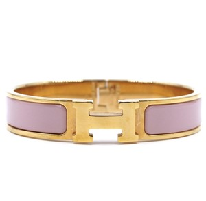 Hermès enamel H clic clac PM Rose gold hardware Bangle bracelet cuff