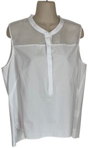 T Tahari Cotton Sleeveless Mesh Button Up Pullover Top white