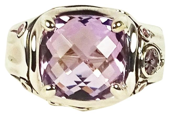 Item - Purple Sterling Silver Bamboo Amethyst Center Stone 7 Ring