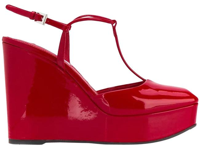 Item - Red Gr Sandals and Square Wedges Size EU 39.5 (Approx. US 9.5) Regular (M, B)