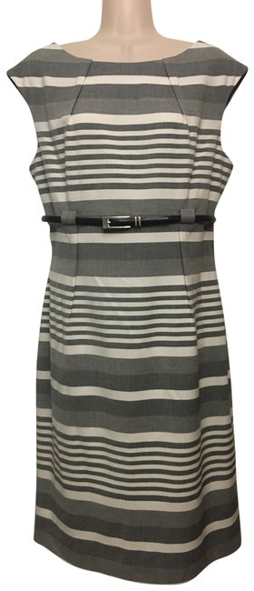 Item - Grey and White Stripe Sheath Mid-length Work/Office Dress Size 12 (L)
