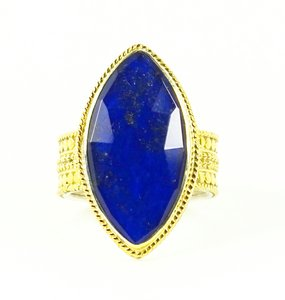 Anna Beck ANNA BECK Gili Sterling Silver 18K Gold Faceted Lapis Lazuli Ring