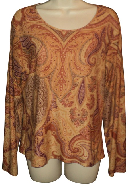 Item - Brown & Rust Stretchy...long Sleeves...rounded Neckline...paisley Pattern Tee Shirt Size 10 (M)