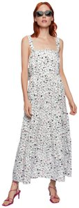White Maxi Dress by Zara Maxi Bow Ruffle Printed