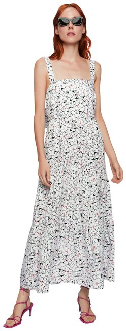Item - White Printed with Bow At The Back Long Casual Maxi Dress Size 12 (L)