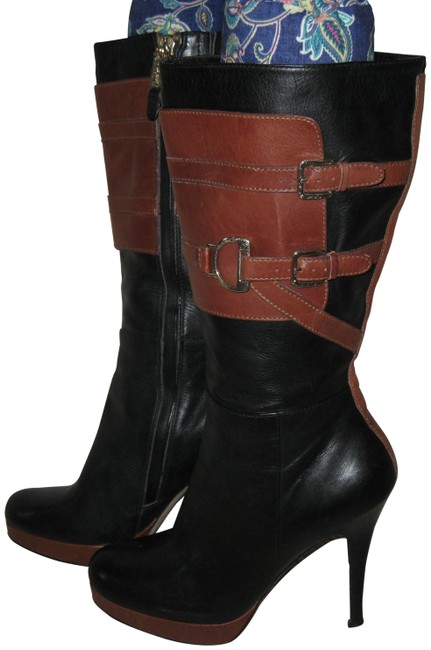 Item - Black Brown Leather Sexy -buckle Riding Boots/Booties Size US 8 Regular (M, B)