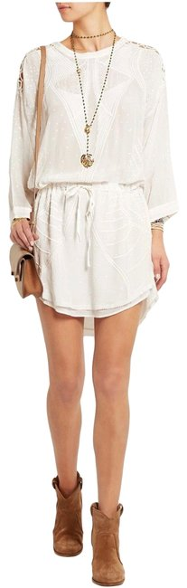 Item - White Anita Embroidered Crepe De Chine Short Cocktail Dress Size 4 (S)