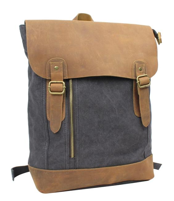 Item - Sport Cowhide Leather C20 Grey Canvas Backpack