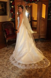 White Long Cathedral Length Bridal Veil