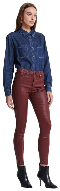 Item - Burgundy Coated The Farrah Ankle Faux Leather Skinny Jeans Size 27 (4, S)