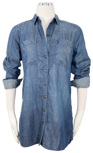 Item - Blue Tencel Chambray Denim Long Button Up Shirt S Button-down Top Size 6 (S)