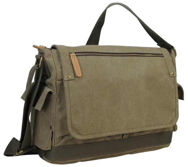 """Item - 15"""" Casual Style Laptop C31 Military Green Canvas Messenger Bag"""
