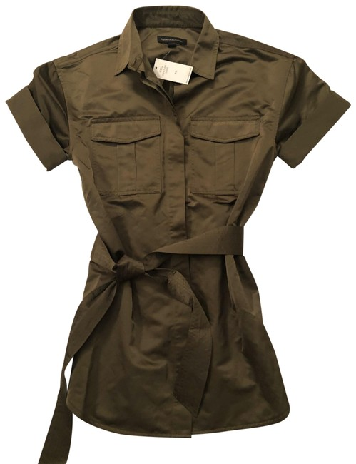 Item - Olive Green Belted Mili Style- Button-down Top Size 2 (XS)