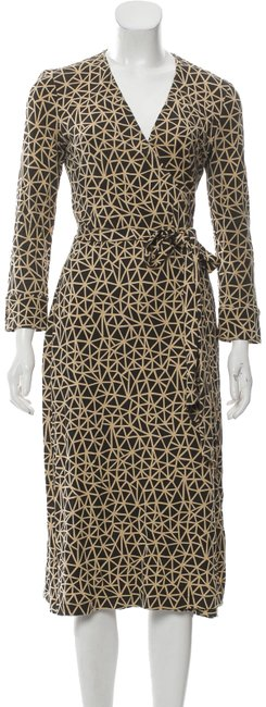 Item - Black Camel Abstract Print Silk Midi Wrap Mid-length Work/Office Dress Size 4 (S)