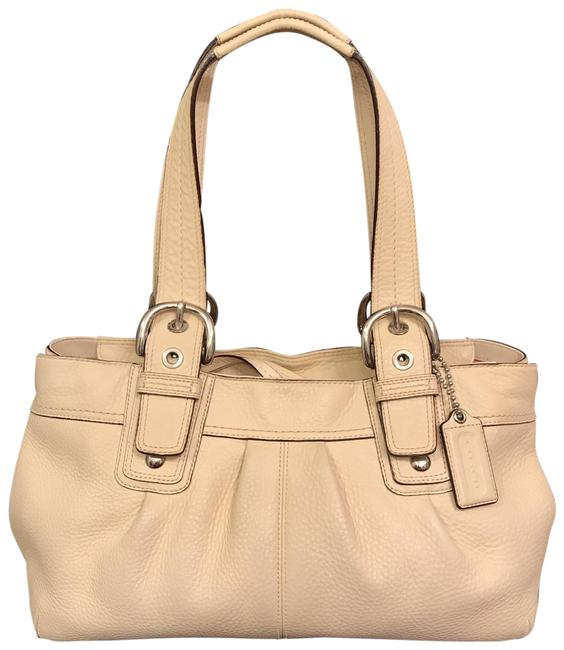 Item - Soho Lg Pleated Shopper Tote F13732 Beige Silver Leather Satchel