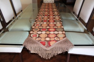 Geometric Pattern Reversable Table Runner with Fringe Tableware