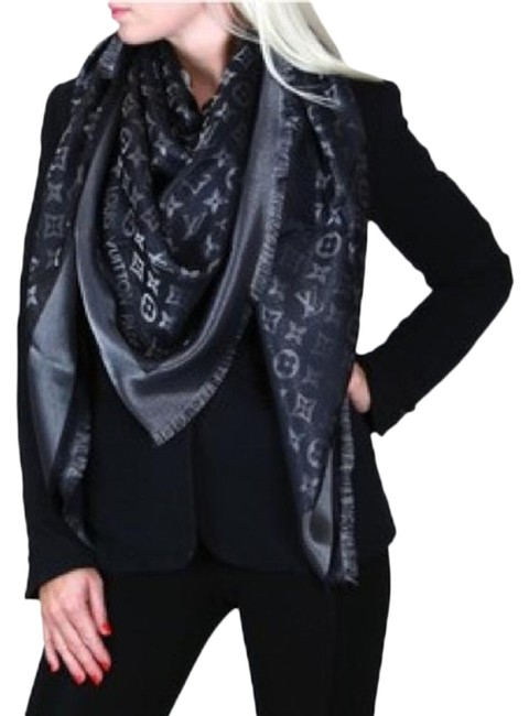 Item - Black Grey Shine Shawl Monogram Scarf/Wrap