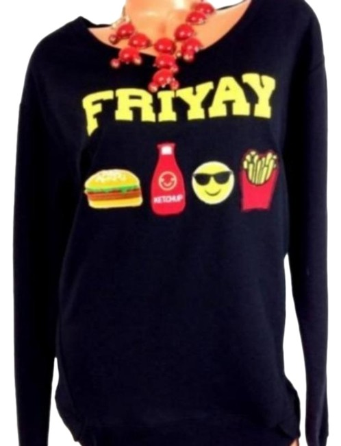 Item - Friyay Patch Long Sleeve Graphic Black Sweater