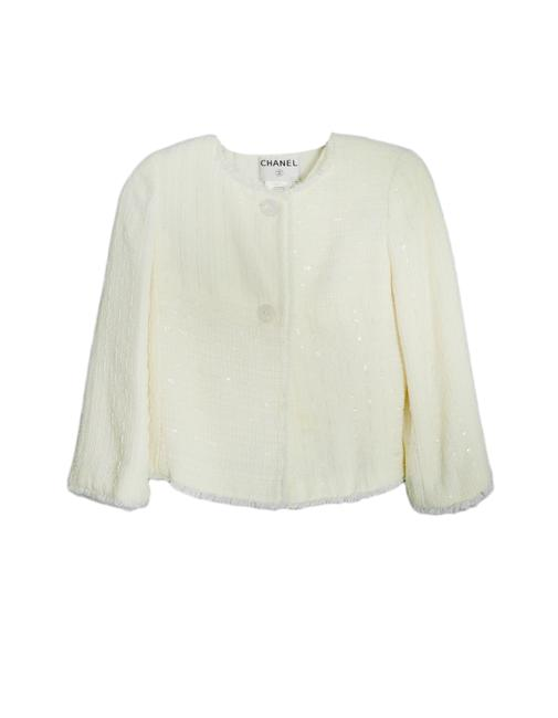 Item - Cream Boucle and Shell 40 Jacket Size 8 (M)