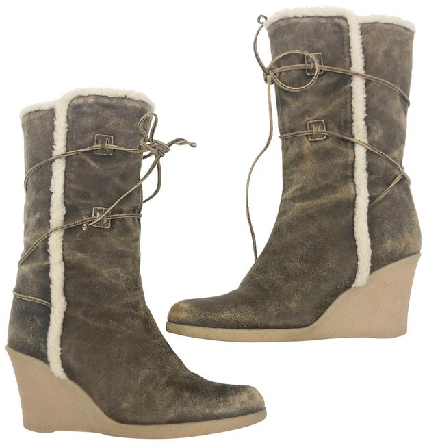 Item - Tan Shearling Suede Wedge Boots/Booties Size US 7 Regular (M, B)