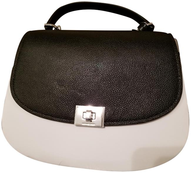Item - Shoulder ** Cassie Large Two Tone Optic White / Grey/ Black Leather Cross Body Bag