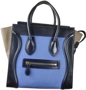Céline Leather Calfskin Tote in Black, Beige and Blue