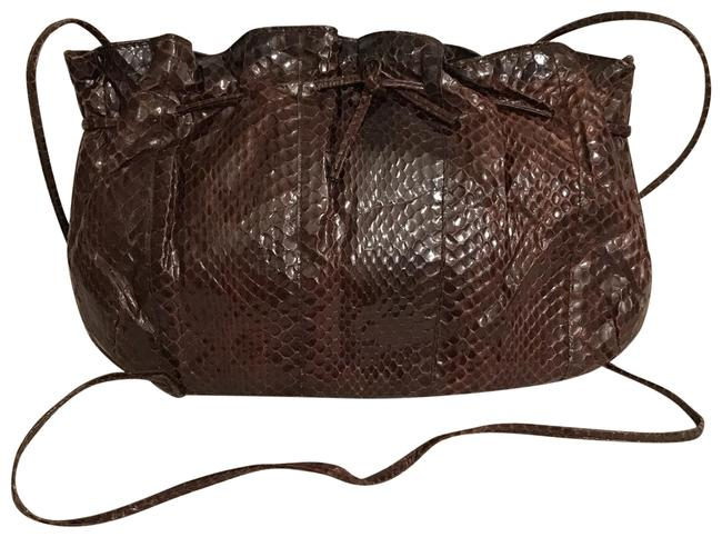 Item - Clutch Real Brown Snakeskin Leather Cross Body Bag