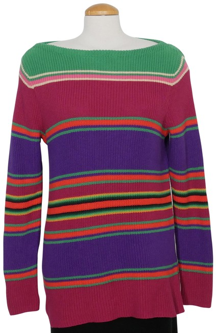 Item - Green Purple Multi Variegated Stripe Ribbed Cotton Sweater 1x Tunic Size 20 (Plus 1x)