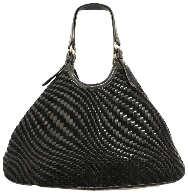 Item - Lg Genevieve Woven Triangle Suede Black Silver Patent Leather Tote