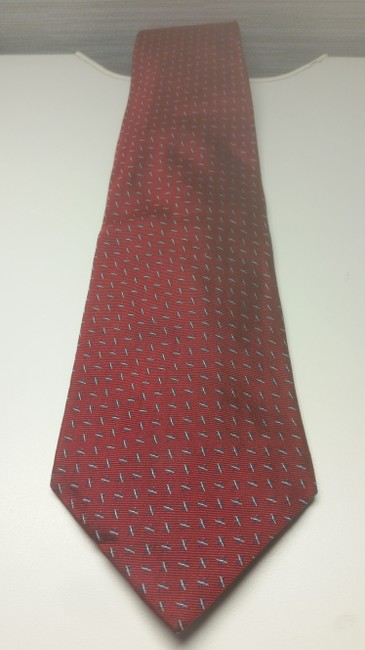 Item - Maroon W/Grey Blue Accents W/Blue Woven Abstract Design Tie/Bowtie