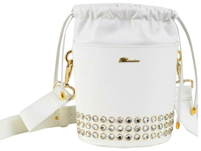 Item - Bucket Rhinestone Embellished Drawstring White Leather Shoulder Bag