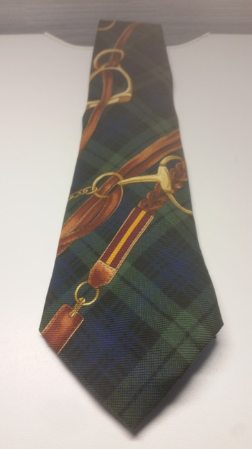 Item - Green Brown Blue Plaid W W/Navy and Geo Square Buckle Tie/Bowtie