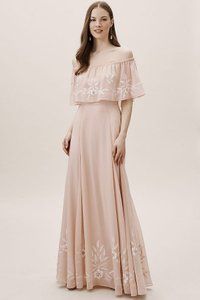 BHLDN Oyster Polyester Brittany Feminine Wedding Dress Size 16 (XL, Plus 0x)