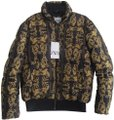 Zara Quilted Body Bomber Style Scroll Motif Print Front Zip Closure Ribbed Trim Black Jacket