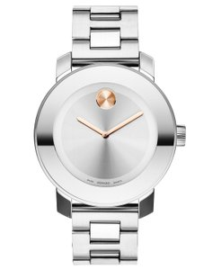 Movado Stainless Steel Two Tone Rose Gold Dot Womens 3600084